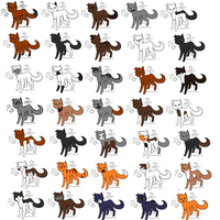 34 Warrior Cat Adoptables by tai-fire-cat