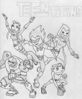Teen Titans cover art WIP by Kevin11s-girl