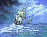 Royal Navy frigates blockading French Coast 1812 by phils-art-work