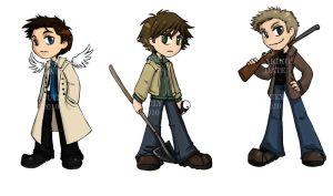 SPN - Cas, Sam and Dean by akiwitch