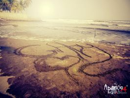 Writing her name in sand by Aparicio94