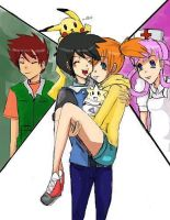 Ash, Misty, Brock and NurseJoy by Huraimi