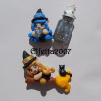 A witch with crystal ball and one on the broom by Elfetta2007