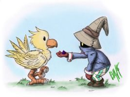 Black Mage + Chocobo by Eskimo-Evan