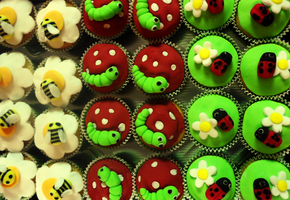 Mini Beasts themed mini cupcakes by JadeMantis