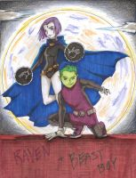 Raven and  Beast Boy by TheDreamerofSpace
