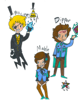 Bill Cipher and the Twins by Random-Tobi