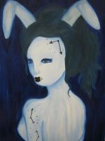 the white rabbit-painting by Poppin-Blue-Smartie