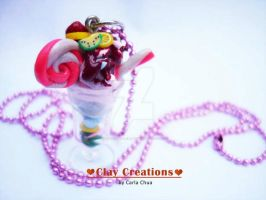 Ice cream parfait necklace - pink by phoenixcarla