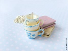 Three cups with blue painted by allim-lip