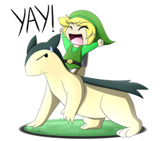Link and Typhlosion by oldanthropokemon