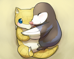 Sandshrew/Drilbur hugs by magicalondine
