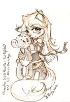 COMM: Chiyoko and her Teddy bear by AllesiaTheHedge