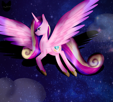 Princess Cadence flying by MeowArtHU