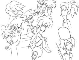 Sideshow Bob hair sketches by Nevuela
