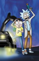 Rick and Morty go Back to the Future Adult Swim by danielgett
