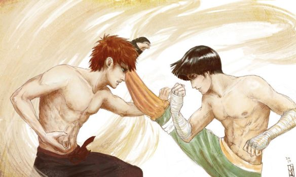 Lee and Gaara Sparring by janey-jane