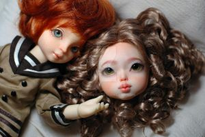 Volks White Rabbit and Elfdoll Yumi/Dami Sullen mo by OlesyaGavr