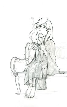 Sketch.Smoking by lucydarkwood