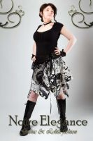 Asymetrical skirt White and black version by Wilya12