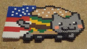 American Flag Nyan Cat- perler bead pattern by werewolfgirl121701