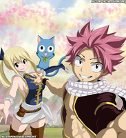 Natsu and Lucy art by Hectorponce98