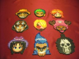 Perler Beads One Piece Crew Coasters by kiskekokanut