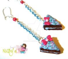 Blue Choco cake earrings by colourful-blossom