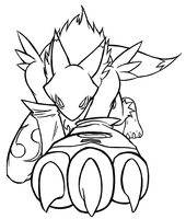 Renamon Claw lineart by IceRenamon