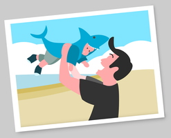 Dad with baby shark by madmarcel