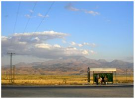 middle-of-nowhere bus stop by OjosRojos