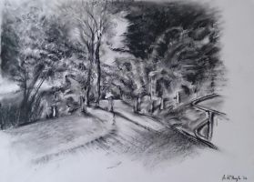 Pathway To The Cemetery, charcoal 2014 by UniiqueTouch