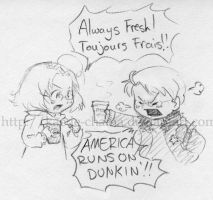 APH chibidoodle: coffee fight by Kaede-chama