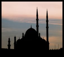 Mosque at sunset by Tantawi