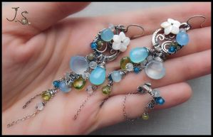 Blue lagoon earrings and ear cuff by JSjewelry