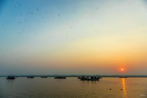 Incredible India - sunrise on the Ganges by Rikitza