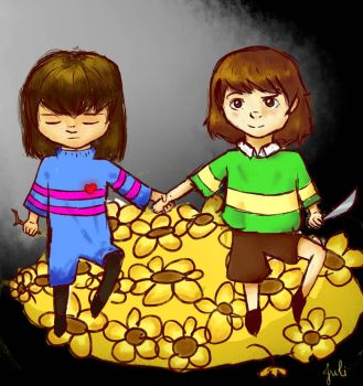 Frisk and Chara by HelloOstrich