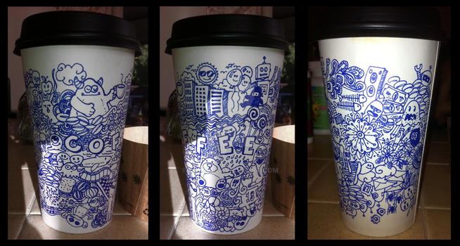 2 Sharpies, 1 Cup- Doodle by DomNX
