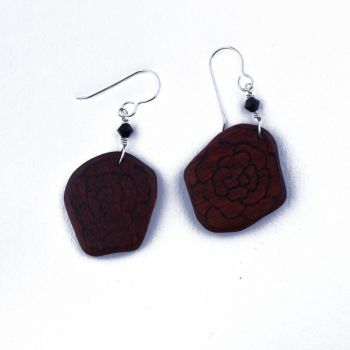 Blood Wood Rose Earrings by WoodsyAccents