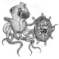 Diver's Helmet Octopus by JenTheRipper