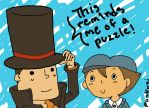 Professor Layton and Luke by punkwai