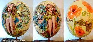 Fairy on Ostrich eggshell by alcat2021