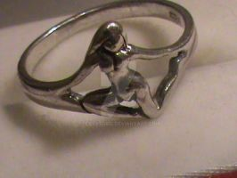 Vintage Silver Art Nouveau-style Nude Female Ring by sevvysgirl