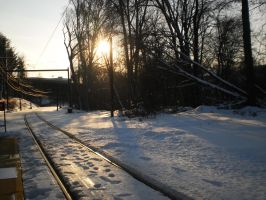 Sunset and snow with tracks by citynetter