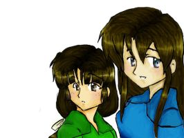 First Photoshop Kaylee and Aki by DrowninginWater