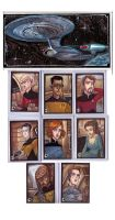 Star Trek TNG sketch cards by JeremyTreece