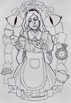 Alice in Wonderland - lineart by HypnoticRose