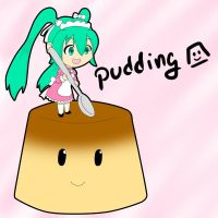 miku + pudding by chroneco