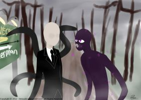 Slender leads Ender out of the forest. by IntrovArt