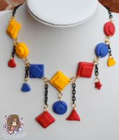 Geometric Tri Colour Necklace by PeppermintPuff
